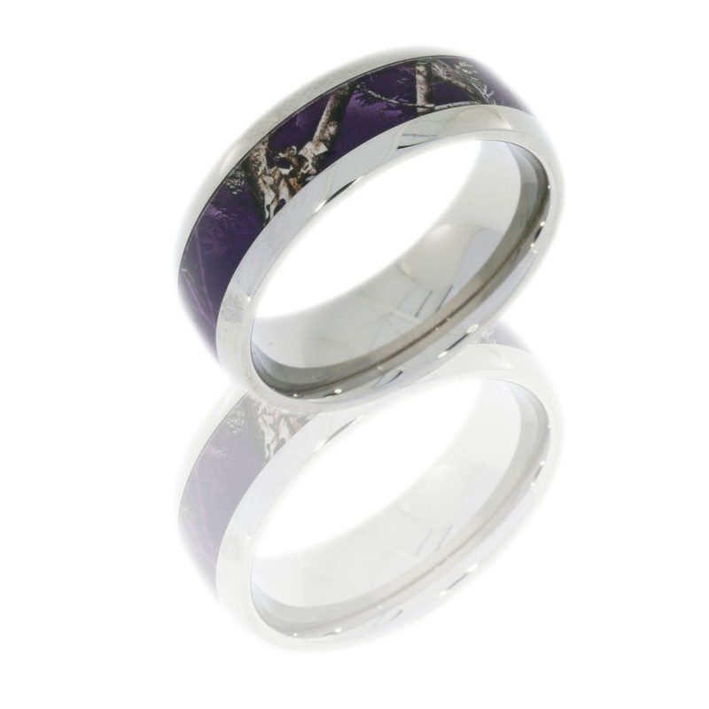 Lashbrook 7HR(1)4G-RT/APPURPLE POLISH Titanium Wedding Ring or Band