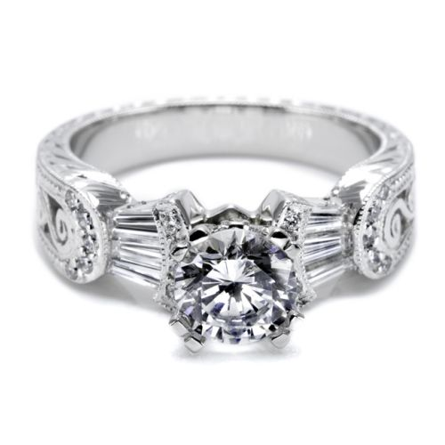 Platinum 2mm Hand Engraved Wedding Band With Milgrain: Tacori Platinum Hand Engraved Engagement Ring HT2130