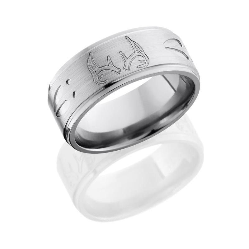 Lashbrook 9FGEDEERTRACKANTLER SATIN POLISH Titanium Wedding Ring Or Band
