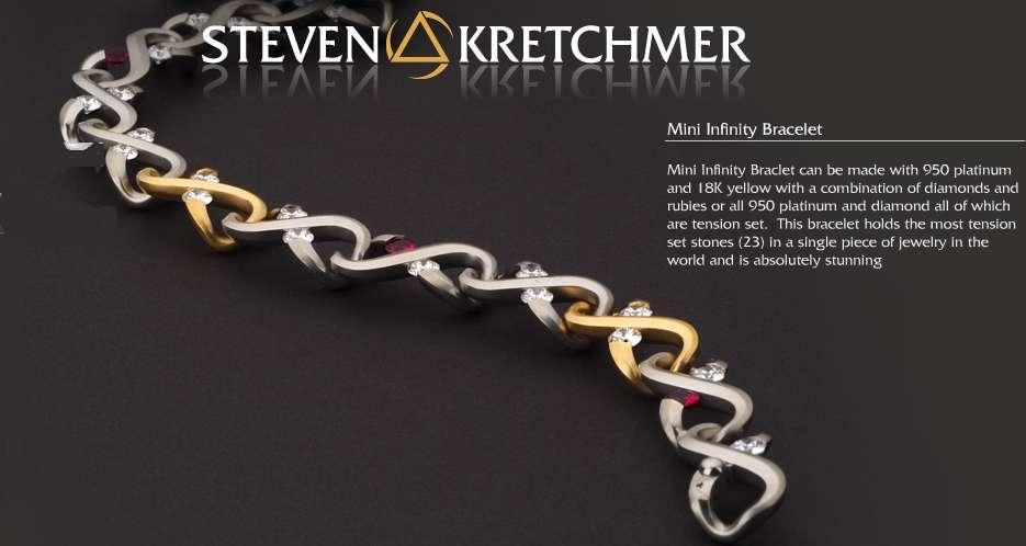 Kretchmer Platinum Micro Infinity Bracelet Tension Set