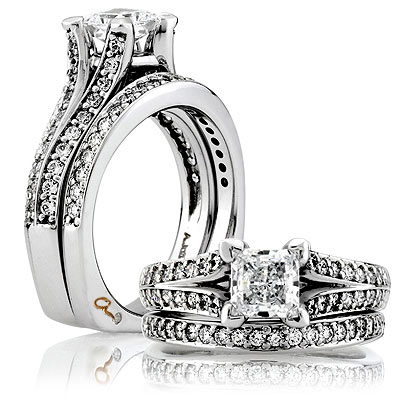 A Jaffe Platinum Signature Engagement Ring MES068  Alternative View 3