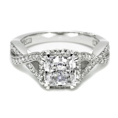 Tacori Dantela Platinum Engagement Ring 2627PRLG Alternative View 2