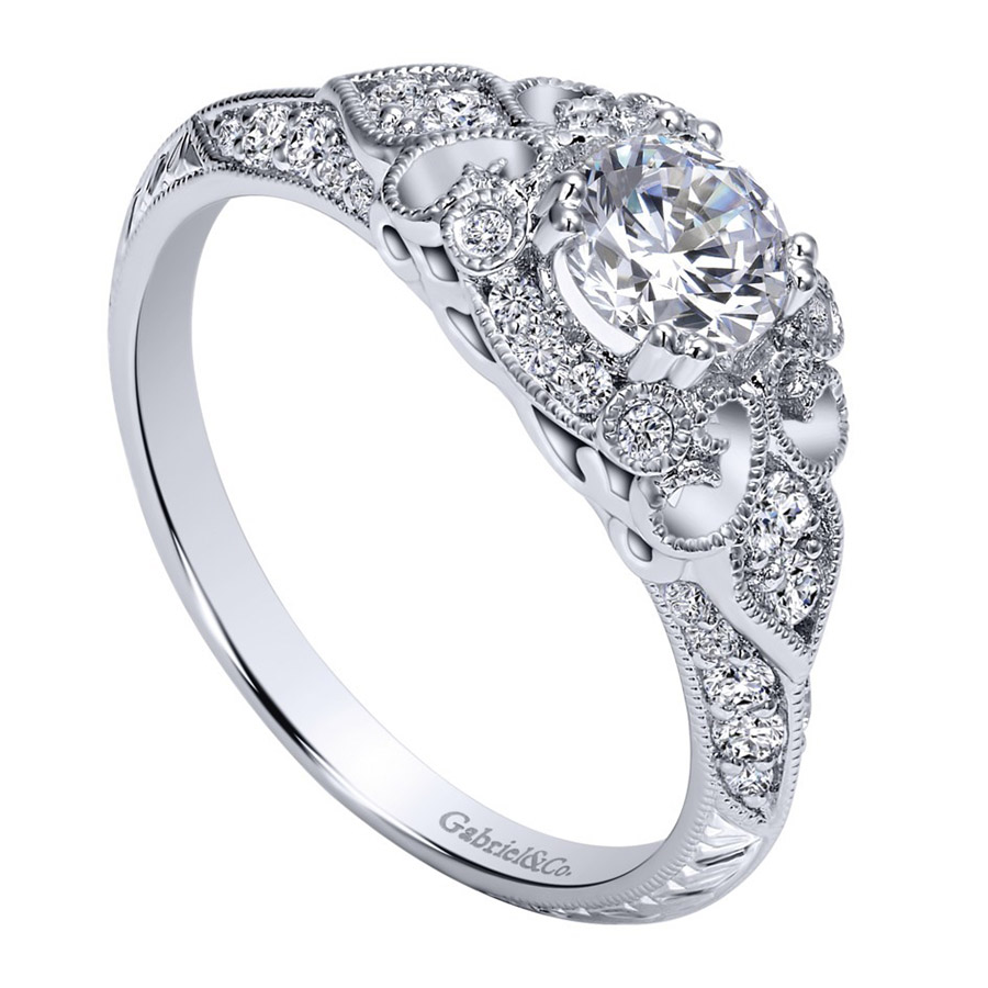 Gabriel 14 Karat Victorian Engagement Ring Er911865r0w44jj Alternative  View 2