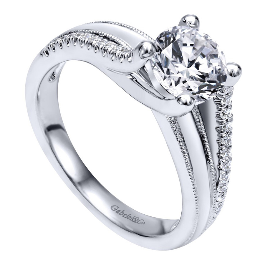 Gabriel 14 Karat Contemporary Engagement Ring ER10260W44JJ Alternative View 2