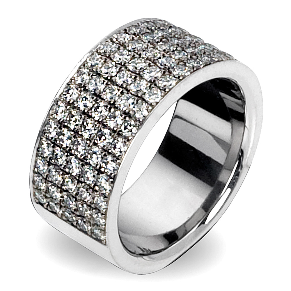 Kretchmer Platinum Five Row Band with Pave Diamonds Tension Set