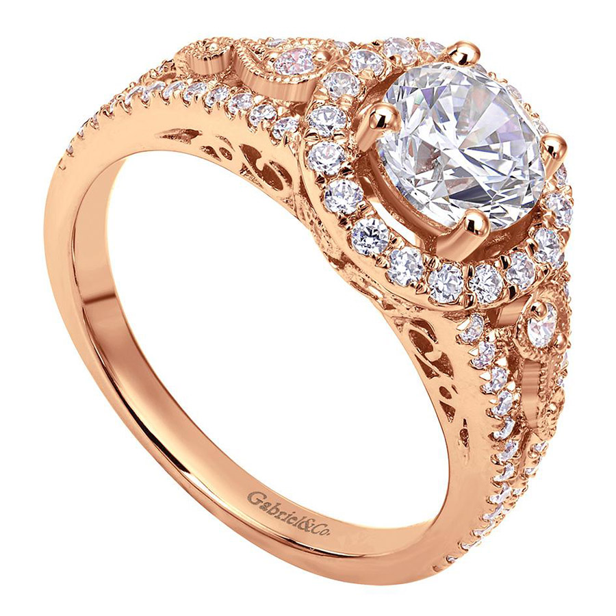 Gabriel 14 Karat Victorian Engagement Ring ER5375K44JJ Alternative View 2