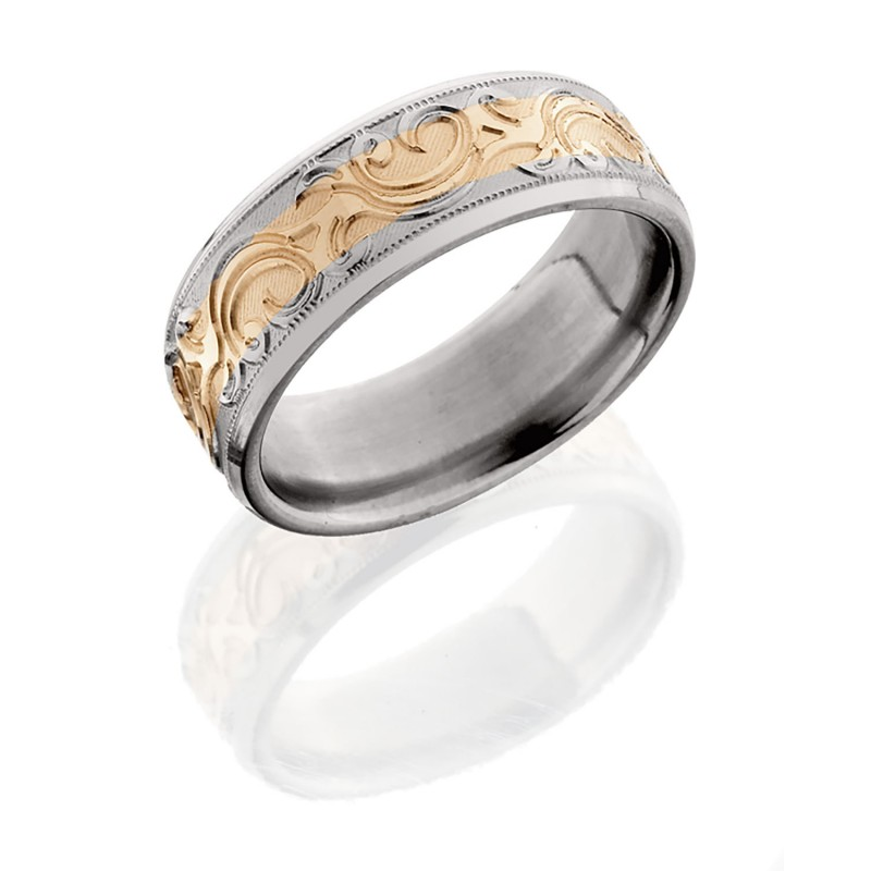 Lashbrook 8HRM14 14KRMJBA POLISH Titanium Wedding Ring Or Band