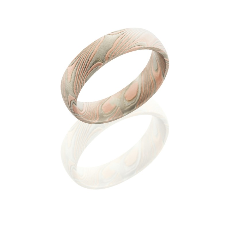 Lashbrook M5D14R14PWSS Mokume Gane Wedding Ring or Band