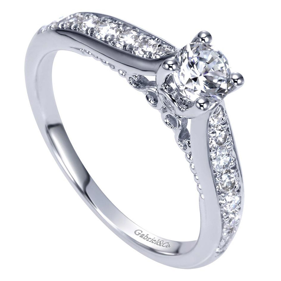 Gabriel 14 Karat Contemporary Engagement Ring ER98553W44JJ Alternative View 2