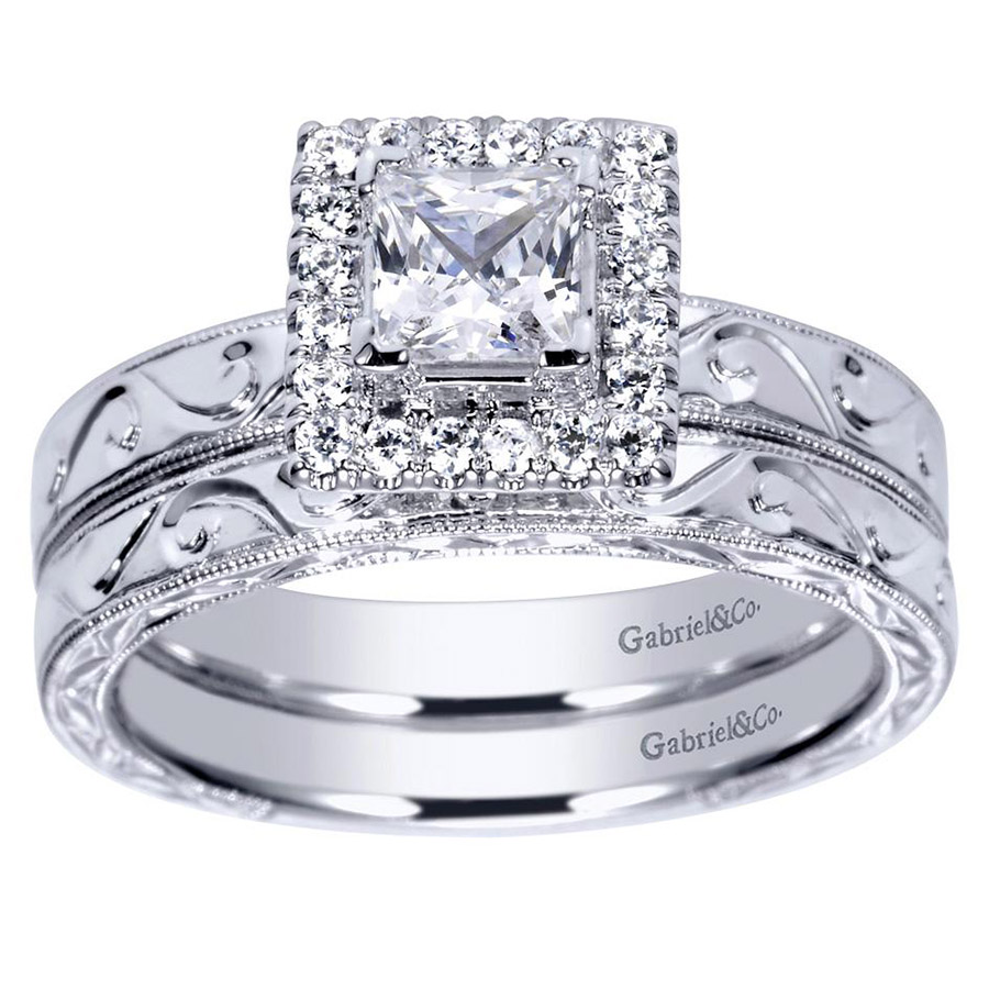 Gabriel 14 Karat Victorian Engagement Ring ER99011W44JJ Alternative View 3