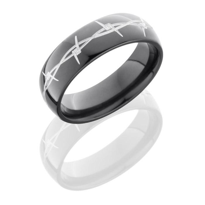 Lashbrook Z7D Barb Polish Zirconium Wedding Ring Or Band