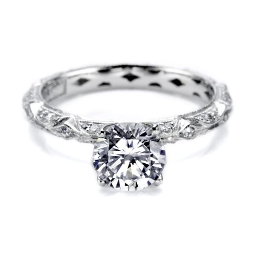 Tacori Hand Engraved 18 Karat Engagement Ring HT2378