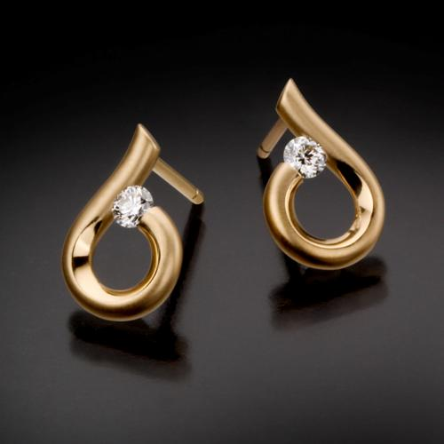 Kretchmer 18 Karat Moon Drop Tension Set Earrings Alternative View 1