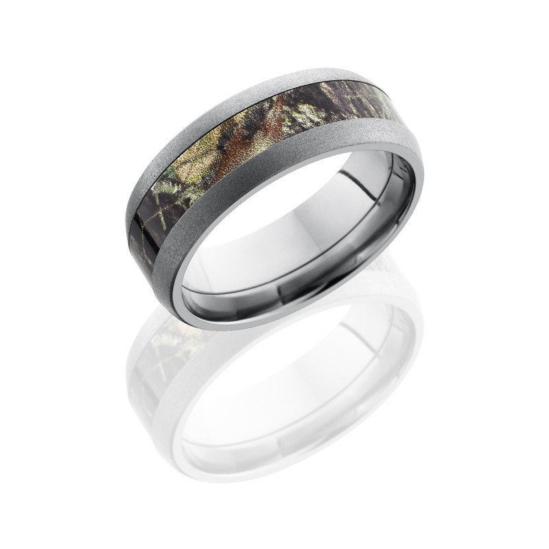 Lashbrook CAMO8D14-MOSSYOAK BEADBLAST Camo Wedding Ring or Band