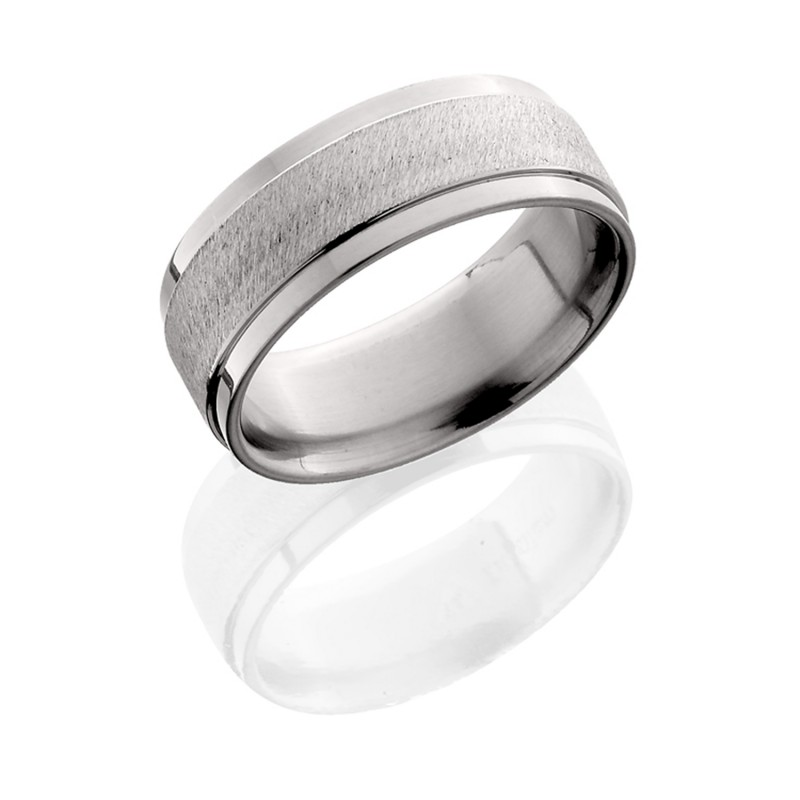 Lashbrook 8FGE ANGLE STONE-POLISH Titanium Wedding Ring or Band