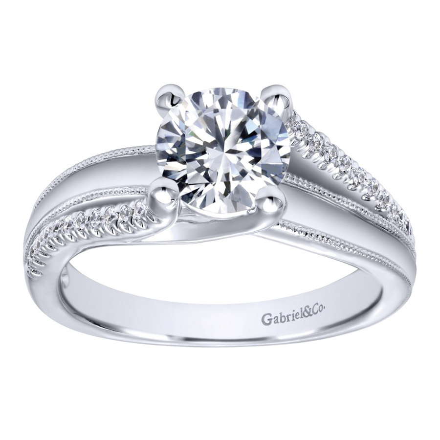 Gabriel 14 Karat Contemporary Engagement Ring ER10260W44JJ Alternative View 4