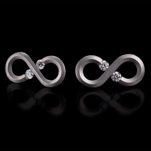 Kretchmer Platinum Infinity Tension Set Earrings Alternative View 1