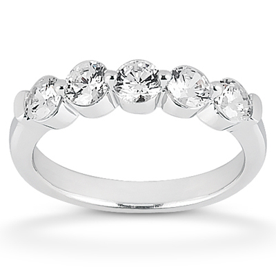Diamond Five Stone Band 14 Karat Taryn Collection TQD B-3472