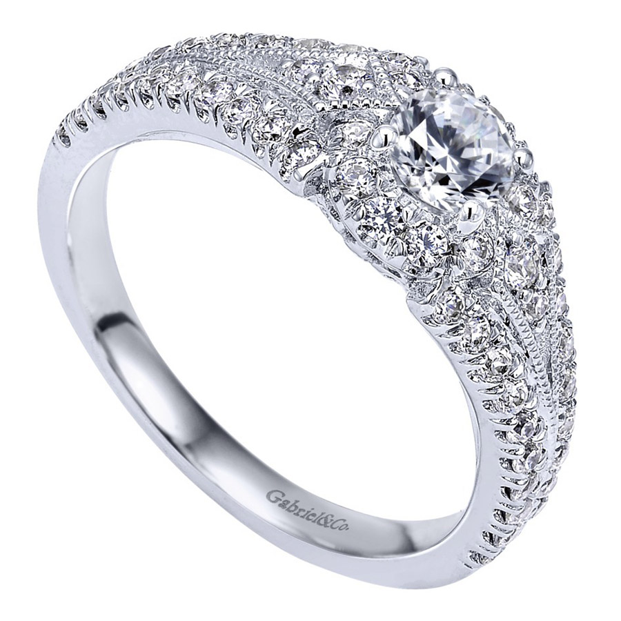 Gabriel 14 Karat Contemporary Engagement Ring ER910140W44JJ Alternative View 2