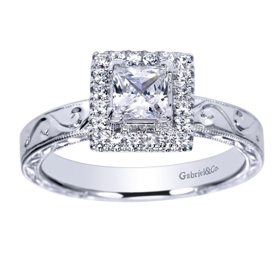 Gabriel 14 Karat Victorian Engagement Ring ER99011W44JJ Alternative View 4