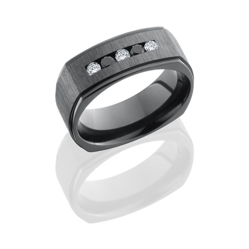 Lashbrook Z8FGESQBLKDIA3X.05DIA2X.05CH CROSS SATIN BLACK-POLISH Zirconium Wedding Ring or Band