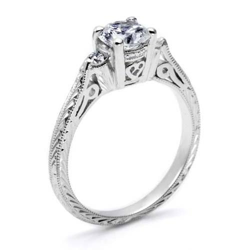 Tacori Platinum Hand Engraved Engagement Ring HT2207 Alternative View 1