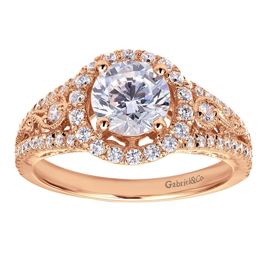 Gabriel 14 Karat Victorian Engagement Ring ER5375K44JJ Alternative View 4
