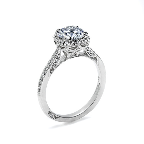 Tacori Platinum Dantela Engagement Ring 2620RDMNP Alternative View 1