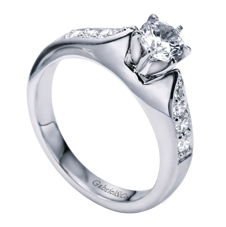 Gabriel 14 Karat Contemporary Engagement Ring ER1702PT3JJ Alternative View 2