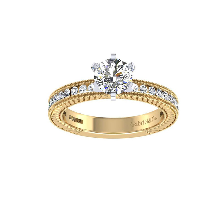 Gabriel 14 Karat Victorian Engagement Ring ER4312M44JJ Alternative View 4