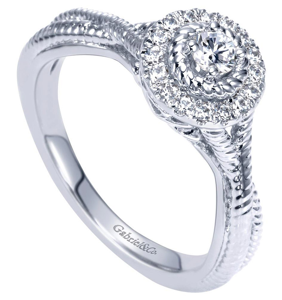 Gabriel 14 Karat Contemporary Engagement Ring ER98441W44JJ Alternative View 2