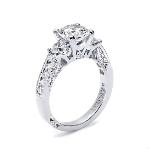 Tacori Platinum Three-Stone Diamond Engagement Ring 2636RD55 Alternative View 1