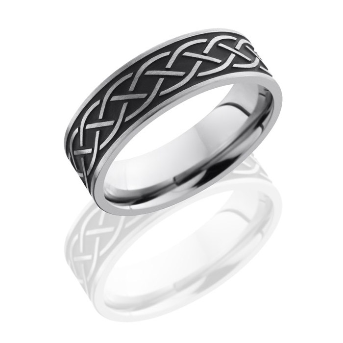 Lashbrook 7FCeltic8A2 Satin Titanium Wedding Ring or Band