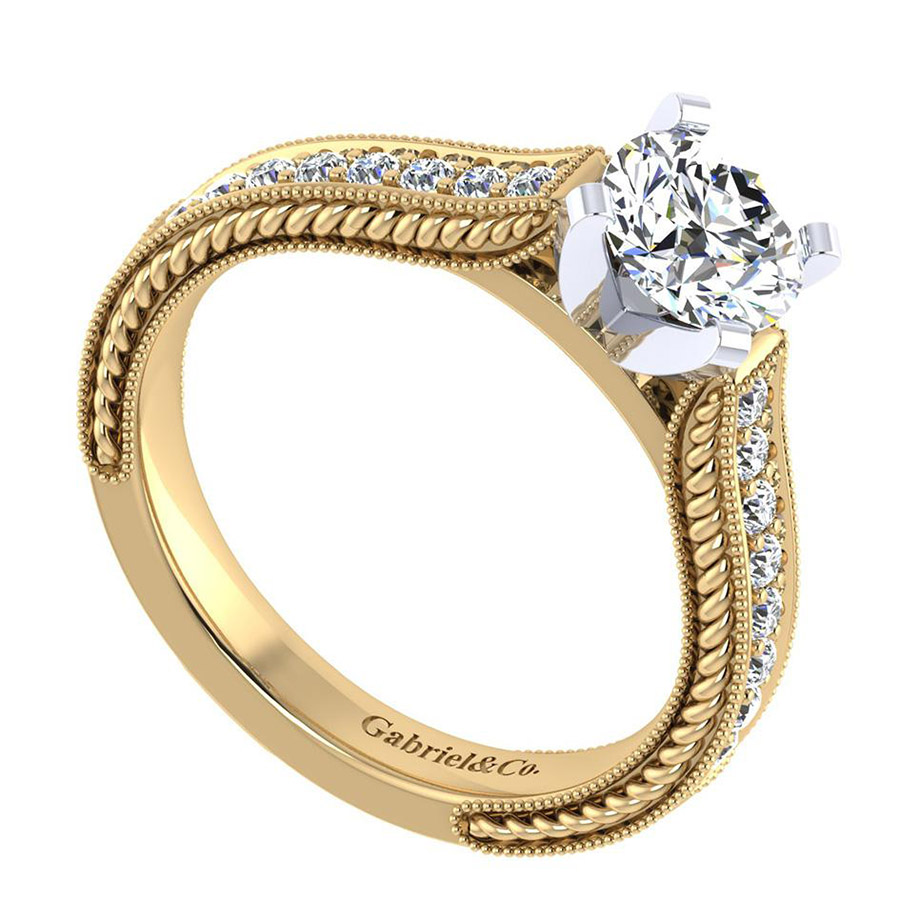 Gabriel 14 Karat Victorian Engagement Ring ER6633M44JJ Alternative View 2