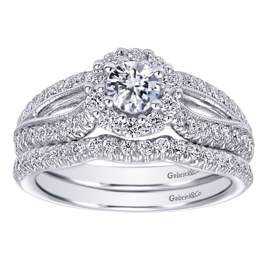 Gabriel 14 Karat Contemporary Engagement Ring ER910150W44JJ Alternative View 3