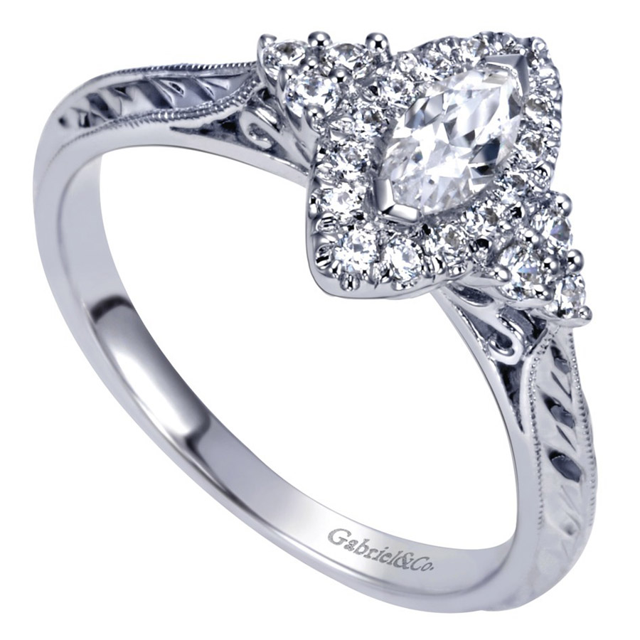 Gabriel 14 Karat Contemporary Engagement Ring ER98485W44JJ Alternative View 2
