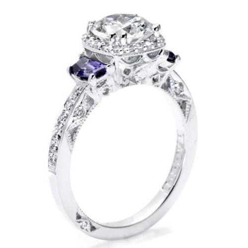 Tacori Dantela Platinum Engagement Ring 2628RDSP Alternative View 3