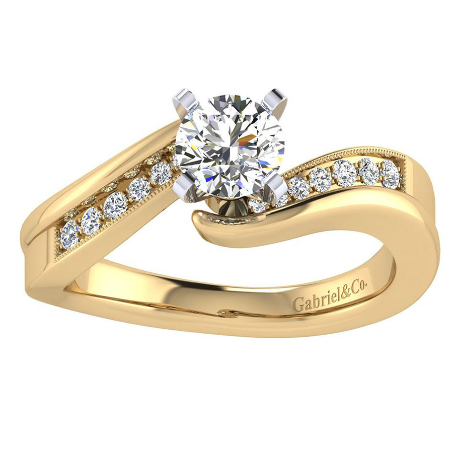 Gabriel 14 Karat Contemporary Engagement Ring ER6069M44JJ Alternative View 4