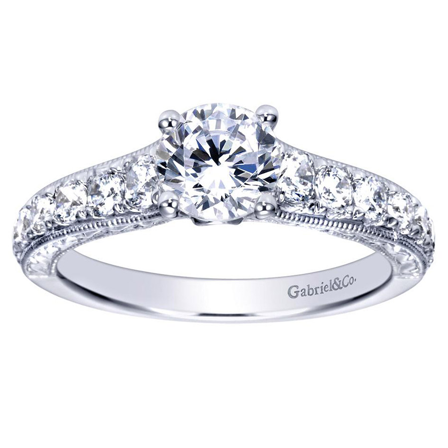 Gabriel 14 Karat Contemporary Engagement Ring ER98717W44JJ Alternative View 4
