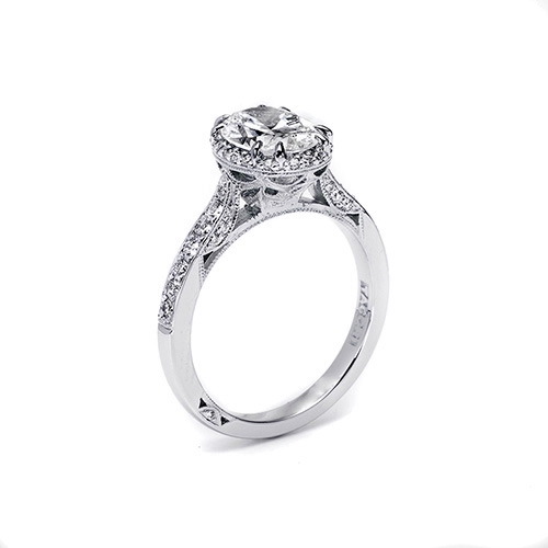 Tacori Platinum Dantela Engagement Ring 2620OVSMP Alternative View 1