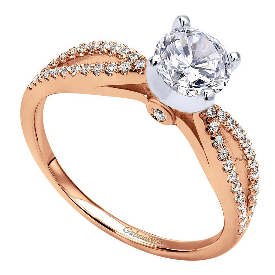 Gabriel 14 Karat Contemporary Engagement Ring ER8129T44JJ Alternative View 2