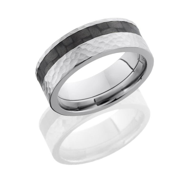 Lashbrook C8F13OC/CF HAMMER Titanium Wedding Ring or Band