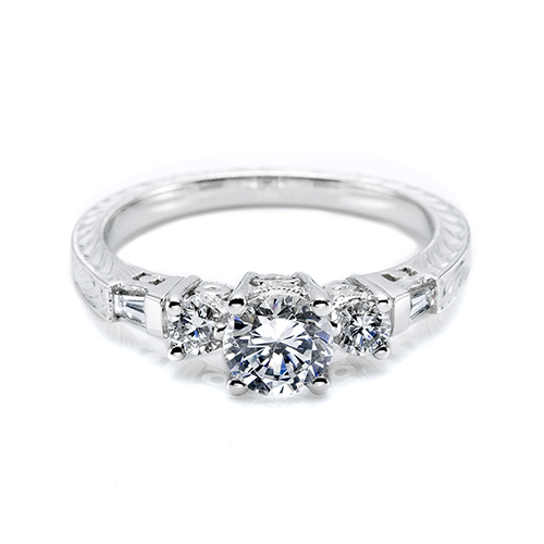 Tacori Platinum Hand Engraved Engagement Ring HT2200
