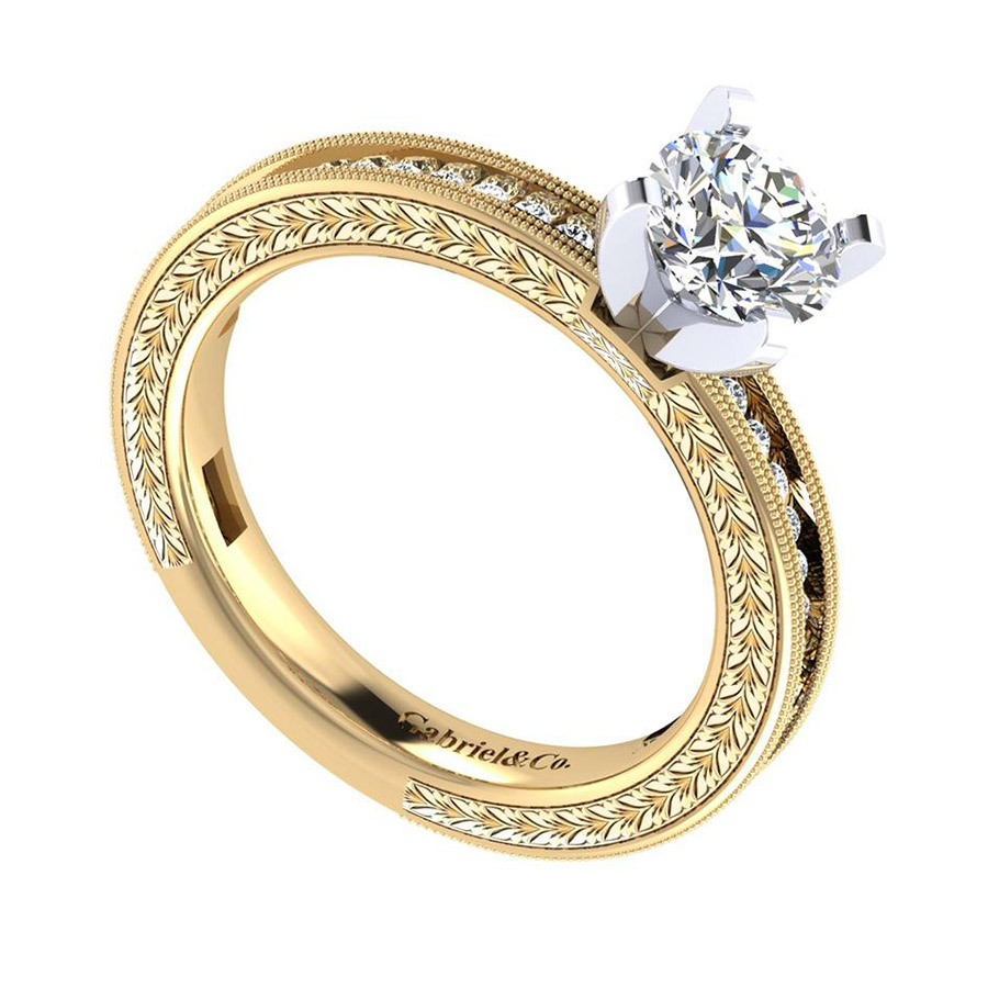 Gabriel 14 Karat Victorian Engagement Ring ER5669M44JJ Alternative View 2