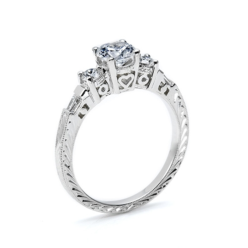 Tacori Platinum Hand Engraved Engagement Ring HT2200 Alternative View 1