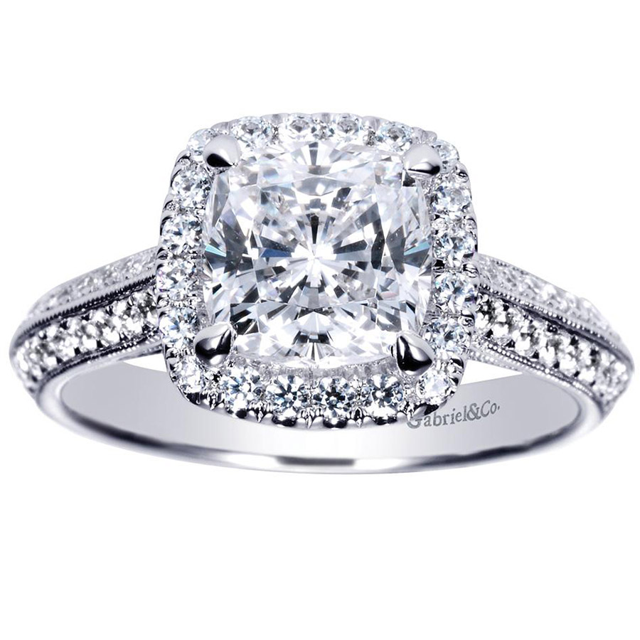 Gabriel 14 Karat Victorian Engagement Ring Er8872w44jj Alternative View  4