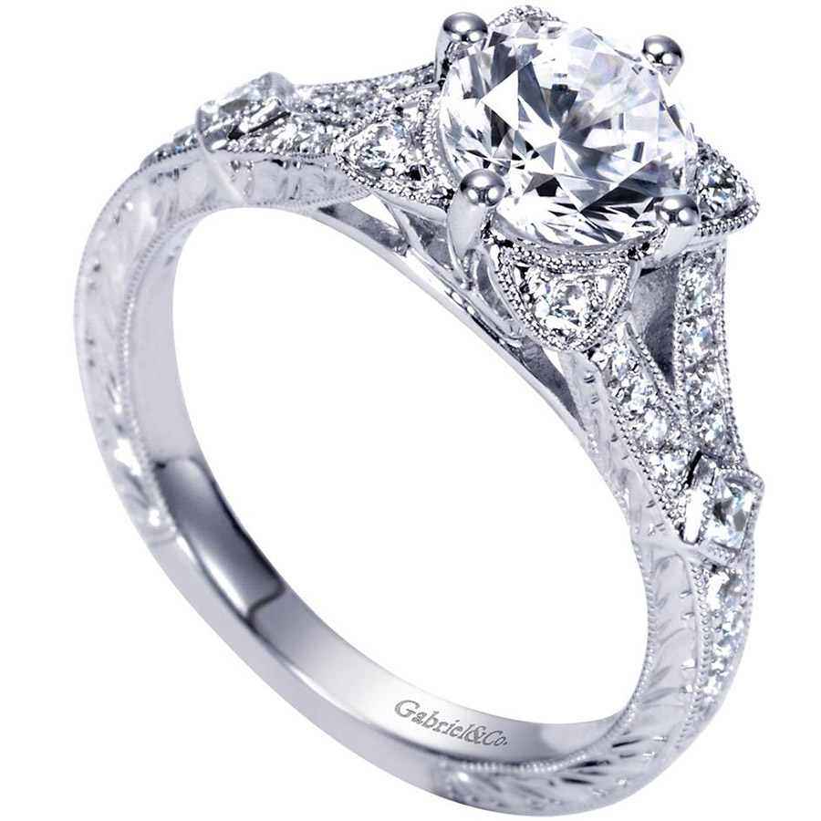 Gabriel 14 Karat Victorian Engagement Ring Er8790w44jj Alternative View  2