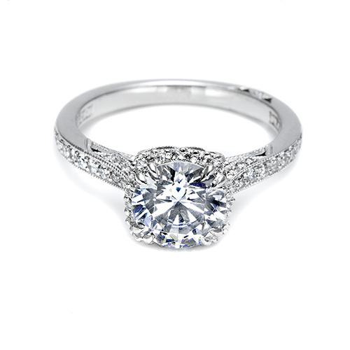 Tacori Platinum Dantela Engagement Ring 2620RDMDP