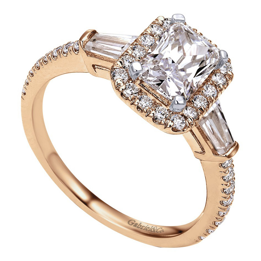 Gabriel 14 Karat Contemporary Engagement Ring ER8354K44JJ Alternative View 2