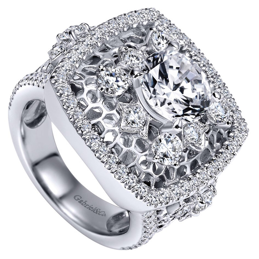 Gabriel 18 Karat Contemporary Engagement Ring ER8469W83JJ Alternative View 2